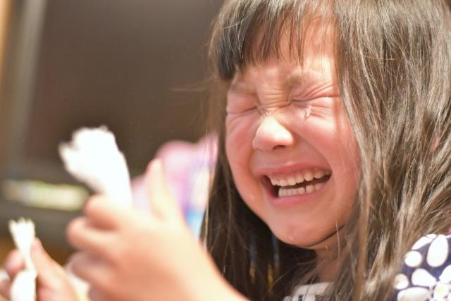 思い通りにならず泣く女の子